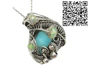 Peruvian Blue Opal Wire-Wrapped Pendant with Ethiopian Welo Opals. Heather Jordan Jewelry
