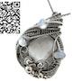 Selenite Wire-Wrapped Pendant with Rainbow Moonstone. Heather Jordan Jewelry