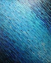 Cuadro moderno: Textura de cuchillo azul perlado blanco..