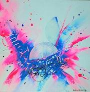 Pink spring Peinture abstraite contemporaine.