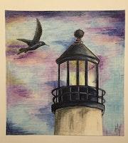 L'oiseau et le phare / Dessin encres de Chine.