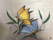 Les papillons / peinture acrylique vernie sur toile.