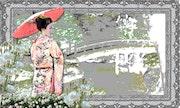 Geisha au parc, délicatesse japonaise.