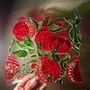 Pomegranate design stained glass plate. Auric. Angel