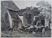 Sortie de la bergerie, par Charles. Jacque.