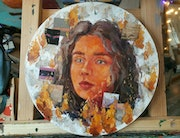 Vivid portrait girl, painting on round canvas, fancy wall art. Fyllis Dogman