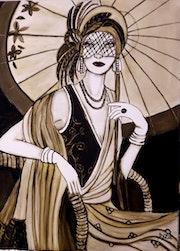 Dame sous une ombrelle. Lydie Frances-Ingles