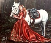 Princesa con su caballo blanco en el bosque.