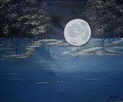 Pleine lune sur le lac.