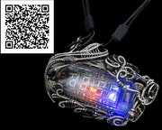 4-Bit Binary Counter Necklace with Upcycled Electronic/Watch Parts, Steampunk/Cy. Heather Jordan Jewelry