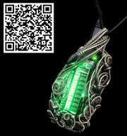 Green Sweeper Nixie Tube Steampunk/Cyberpunk Fusion led Necklace. Heather Jordan Jewelry
