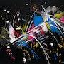 Black colors Toile Abstraite contemporaine par Sophie Queuniez cotée Akoun. Art_By_Sophie_Queuniez