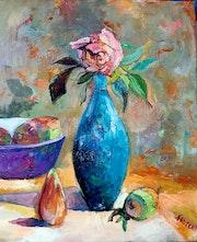 Vase bleu et corbeille de mangues. Florent V.