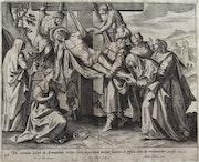 «Descente de Croix» (aux deux échelles et au drap). Collaert d'après M. De Vos.