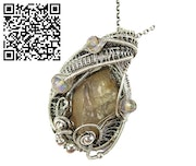 Libyan Desert Glass Pendant with Ethiopian Welo Opals; Wire-Wrap. Heather Jordan Jewelry
