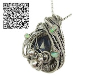 Blue Sapphire Wire-Wrap Pendant with Ethiopian Welo Opals. Heather Jordan Jewelry