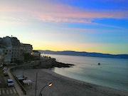 Amanecer en una playa de Portonovo, Pontevedra.