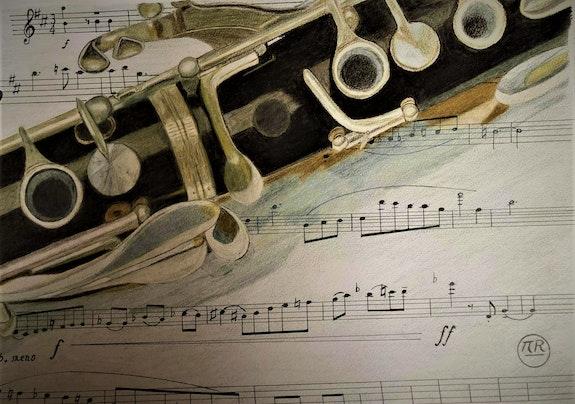 Clarinette sur partition. Pierre Bayet Πr Dessins