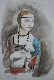 Dame a l'hermine a l'aquarelle d'après Léonard De Vinci.