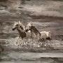 Chevaux sauvages sous la lune. Bernard Brunstein