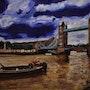 Peinture du pont de Londres, par Joky Kamo. Joky Kamo
