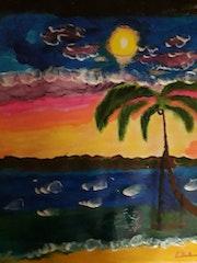 Un coucher de soleil sur la baie de la martinique.