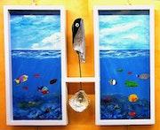 Fondo marino con peces y esculturas. Antonio Garay