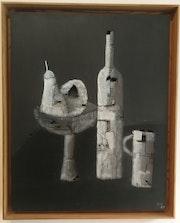 Bodegon con Fruta Negro Blanco y Gris. Antonio Garay