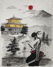 Zoro un samouraï au Japon (Samurai, Temple d'or, Mont Fuji). Valérie Schuler