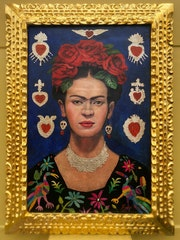 Frida Kahlo mexican artist oil on canvas signed & framed. Cristian Robles