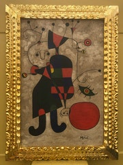 Joan Miro spanish artist oil on canvas signed & framed. Cristian Robles