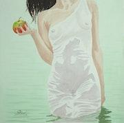 Aquarelle originale «Mordre la pomme». Symphony
