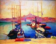 Lever du soleil - Vieux-Port - Marseille. Claudie Desmaret