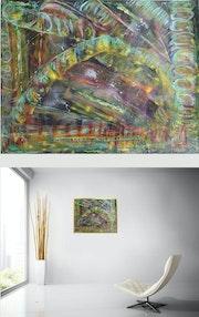 Stellar Night - Original abstract painting on black cardboard. Mixed media..