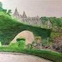 Parc des Topiaires avec vue sur le château de Durbuy.. Πr Dessins