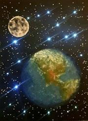 Universum Mond und Erde.