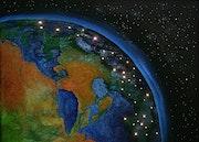 Erde bei Nacht aus dem Weltraum.