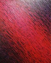 Tableau contemporain : Texture couteau rouge iridescente violette. Jonathan Pradillon