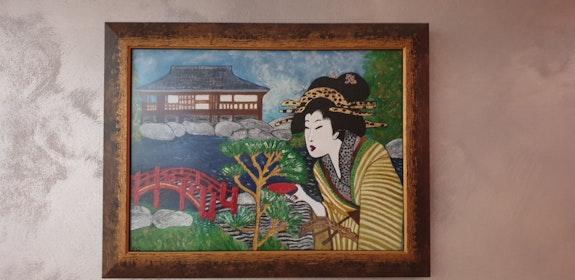 Pavillon de thé dans jardin japonais. Pascale Pascale Gillet