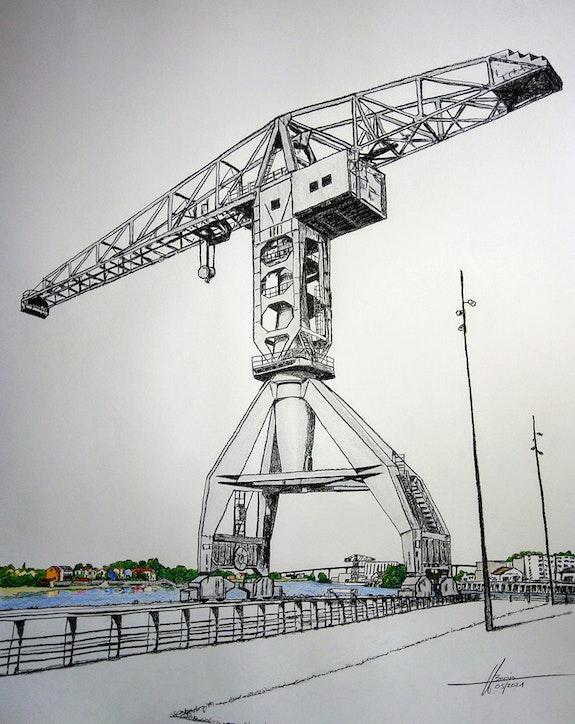 Grue Titan grise à Nantes. Yves Briais Yves Briais