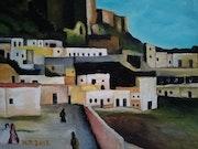 Huile sur toile de 25 X 30 cm intitulée » alcazaba de Almeria en 1912 ». Prost's Art