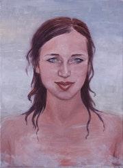 Margo «Aphrodite» portrait on canvas in delicate turqiuos. O. Boby