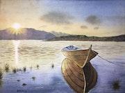 Boat, lake, and sunrise..