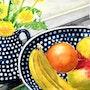 Obst, Keramik und Blumen. Krukie