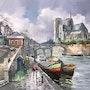 Paris. Notre Dame, la Seine et ses péniches. R Ricart