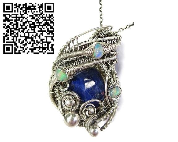 Lapis Lazuli Wire-Wrapped Pendant with Ethiopian Welo Opals. Heather Jordan Heather Jordan Jewelry