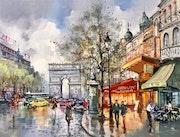 Paris. Les champs Élysée et l'arc de Triomphe.