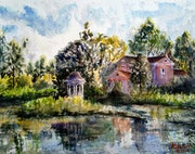 Rotonda at the Pond - plein air.