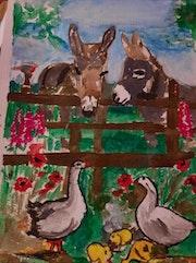 Paysage canard à la campagne Peinture acrylique. Jean-Louis Majerus