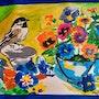Ma peinture acrylique des fleurs avec petits oiseaux. Jean-Louis Majerus